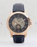 Fossil Grant ME3054 LP Mechanical Leather Watch In Navy