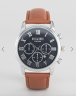 Reclaimed Vintage Inspired Chronograph Brown Leather Strap Watch