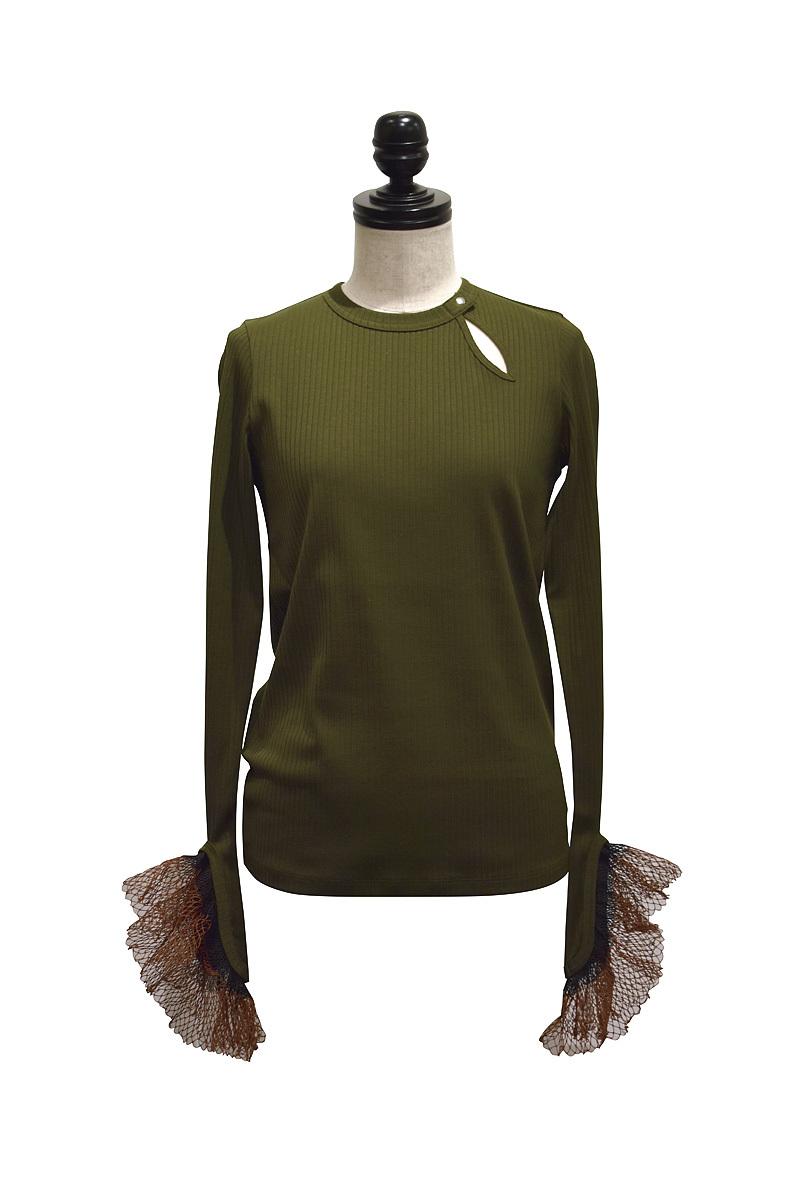 NAIFE™ / Meshed cuff long t-shirt / GREEN