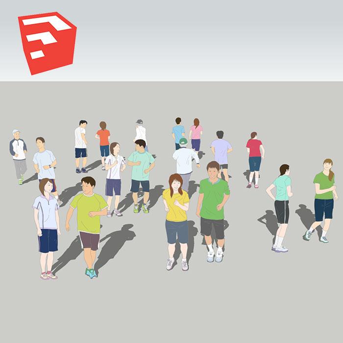 ランニングイラストSketchUp素材 4u_003 - 画像1