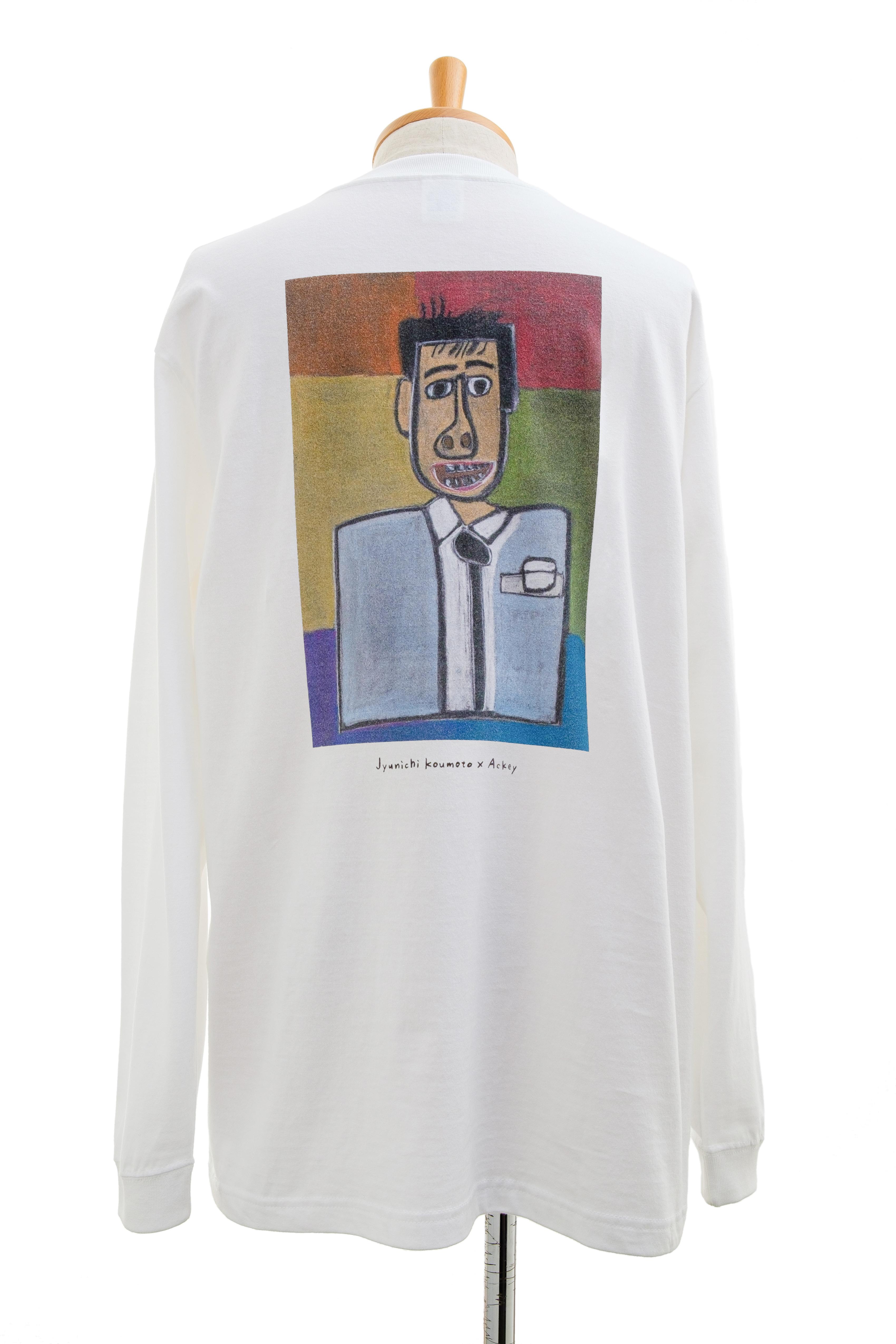 【Junichi Koumoto × Ackey】ロングスリーブTシャツ ホワイト