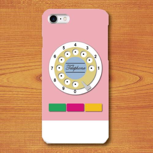 昭和レトロ/おもちゃ電話調/レトロ玩具調/桃色(ピンク)/iPhoneスマホケース(ハードケース)