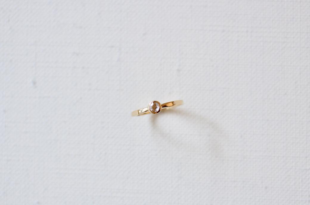 <婚約指輪に>ローズカットダイヤモンドのリング