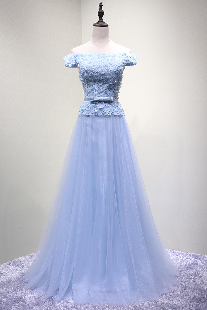 893665afb9383 カラードレス 水色 オフショルダー ステージ衣装 結婚式 披露宴 パーティー ロングドレス 爽やかで優しいブルー