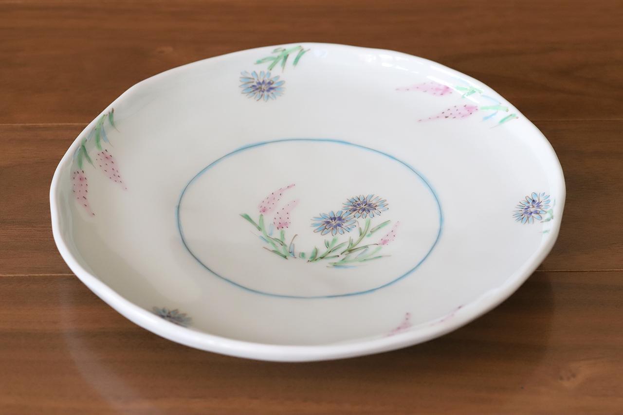 藍水 ノゲイトウ・ヤグルマソウ 6寸皿 直径約18cmパン皿に使える大きさの器 うつわ藍水(波佐見焼)