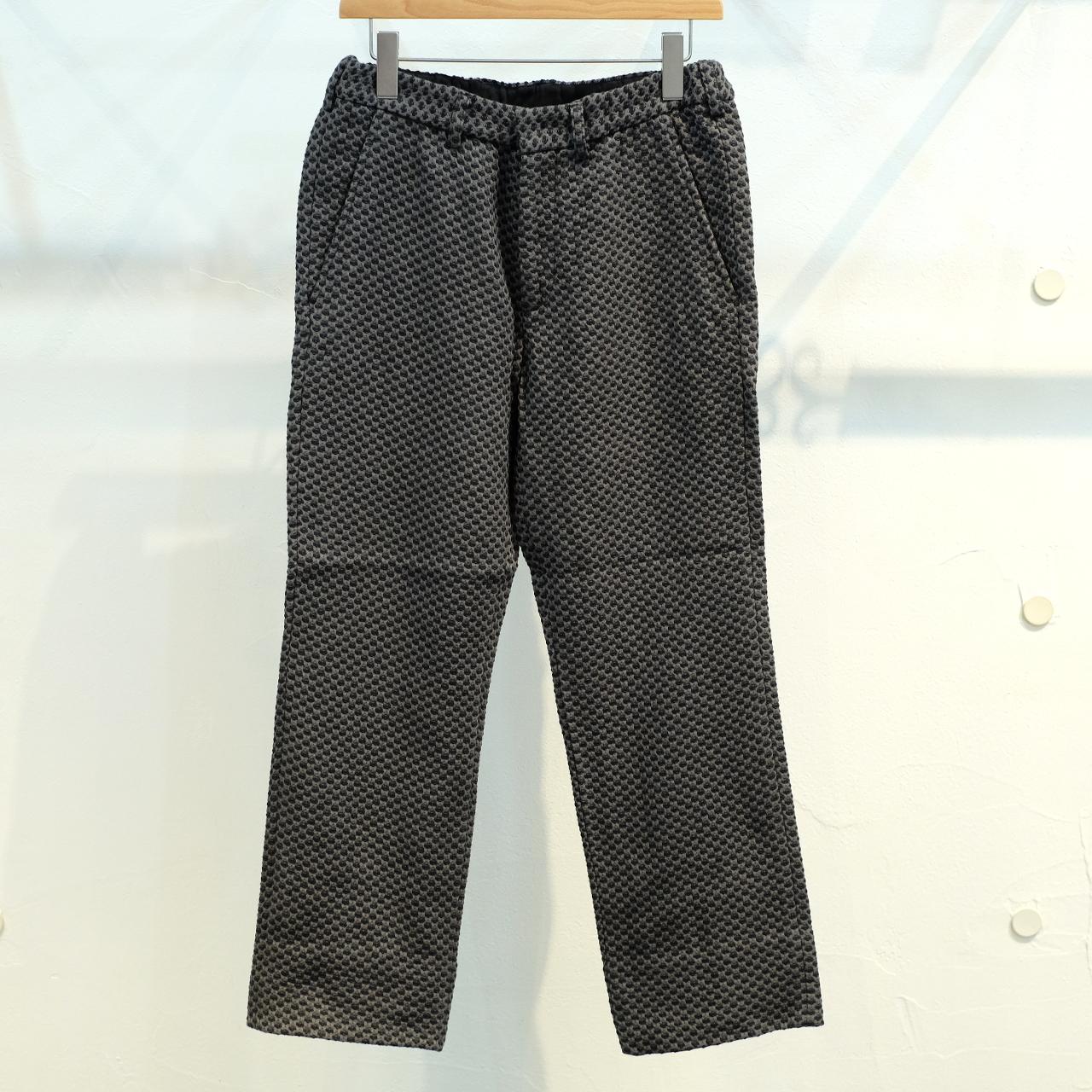 KUON(クオン) 二重十字刺し子織 ロングパンツ 表墨色バージョン