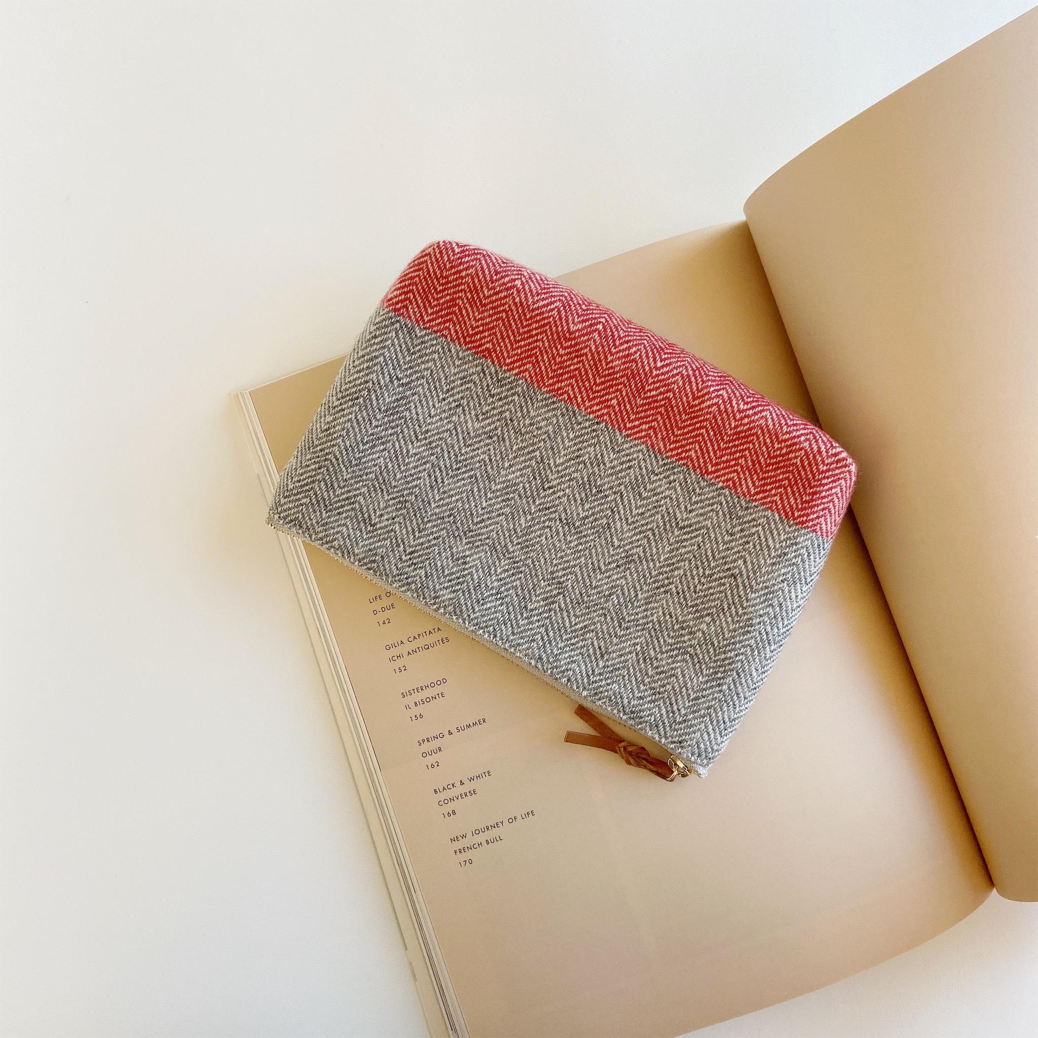 手織りメイクポーチ (Make up bag Cashmere herringbone)