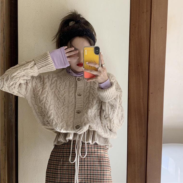 【送料無料】 ナチュラル トップスセット♡ ハイネック カットソー & ケーブル編み ゆる ニット カーディガン