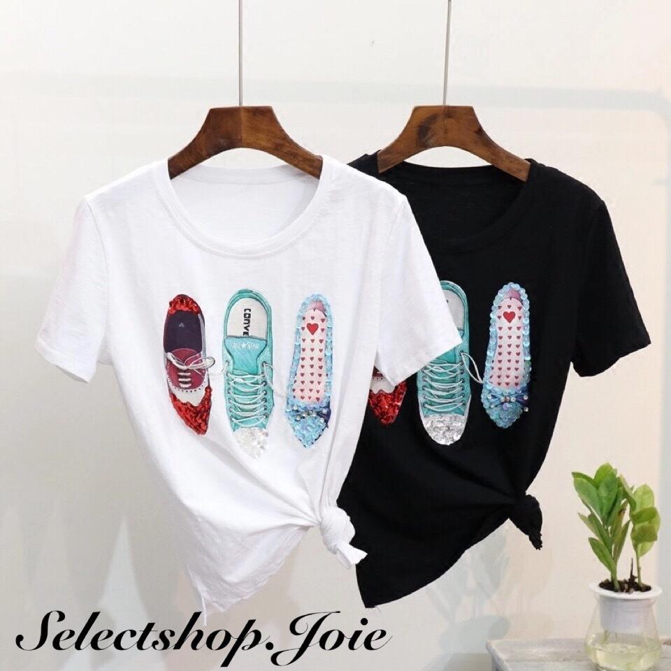 Sneakerスパンコール コットンTシャツ 2色展開