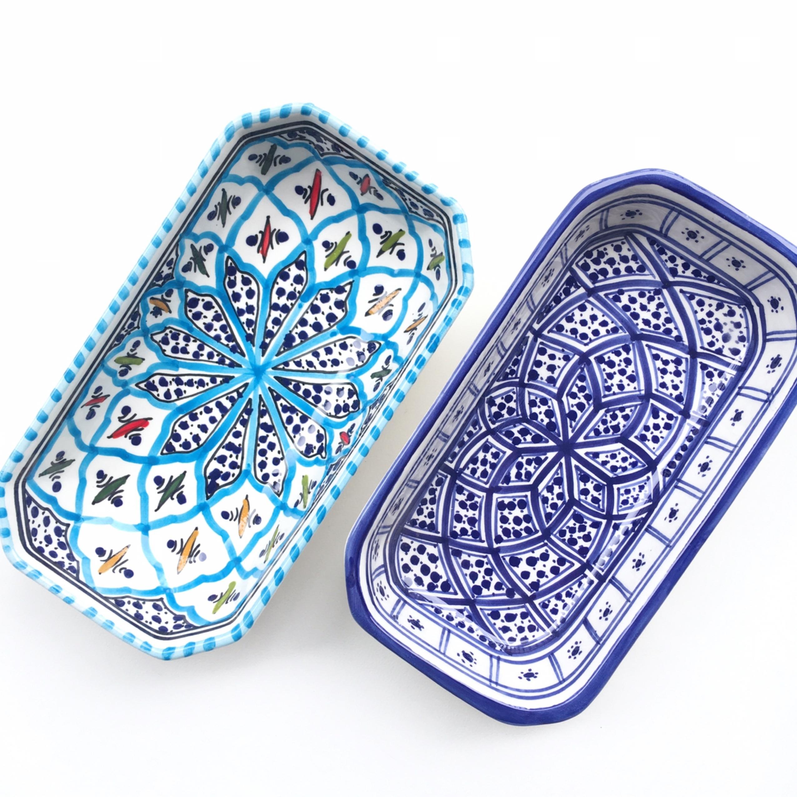 チュニジア陶器 長方形ボウル