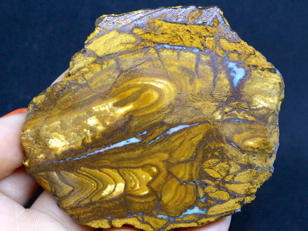 ボルダー オパール スライス オーストラリア産 原石 鉱物 天然石 83,7g OP039