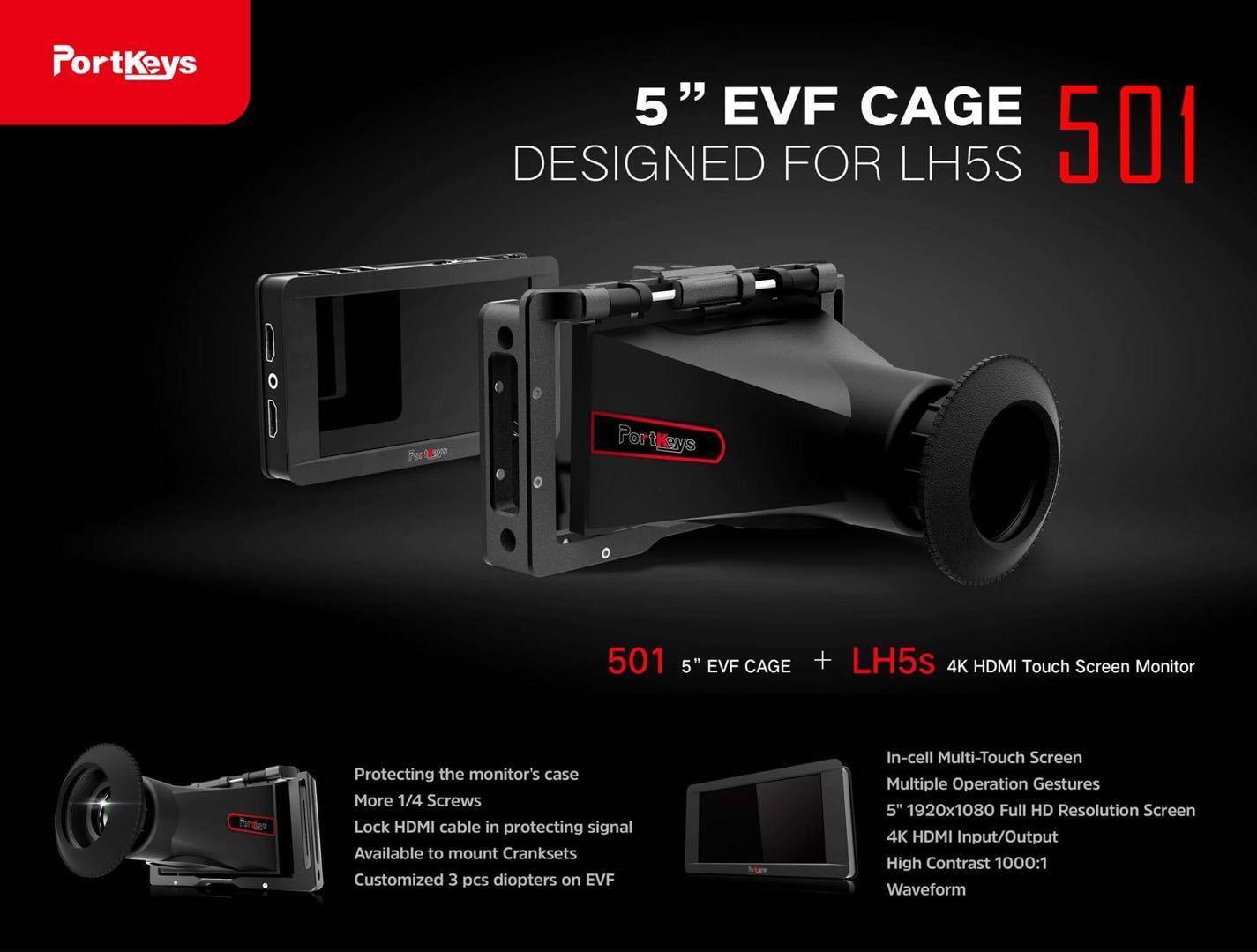 Portkeys社・501・5インチモニターLH5s用 ViewFinder Cage