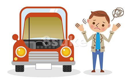 イラスト素材:故障した車と困っている男性ドライバー(ベクター・JPG)