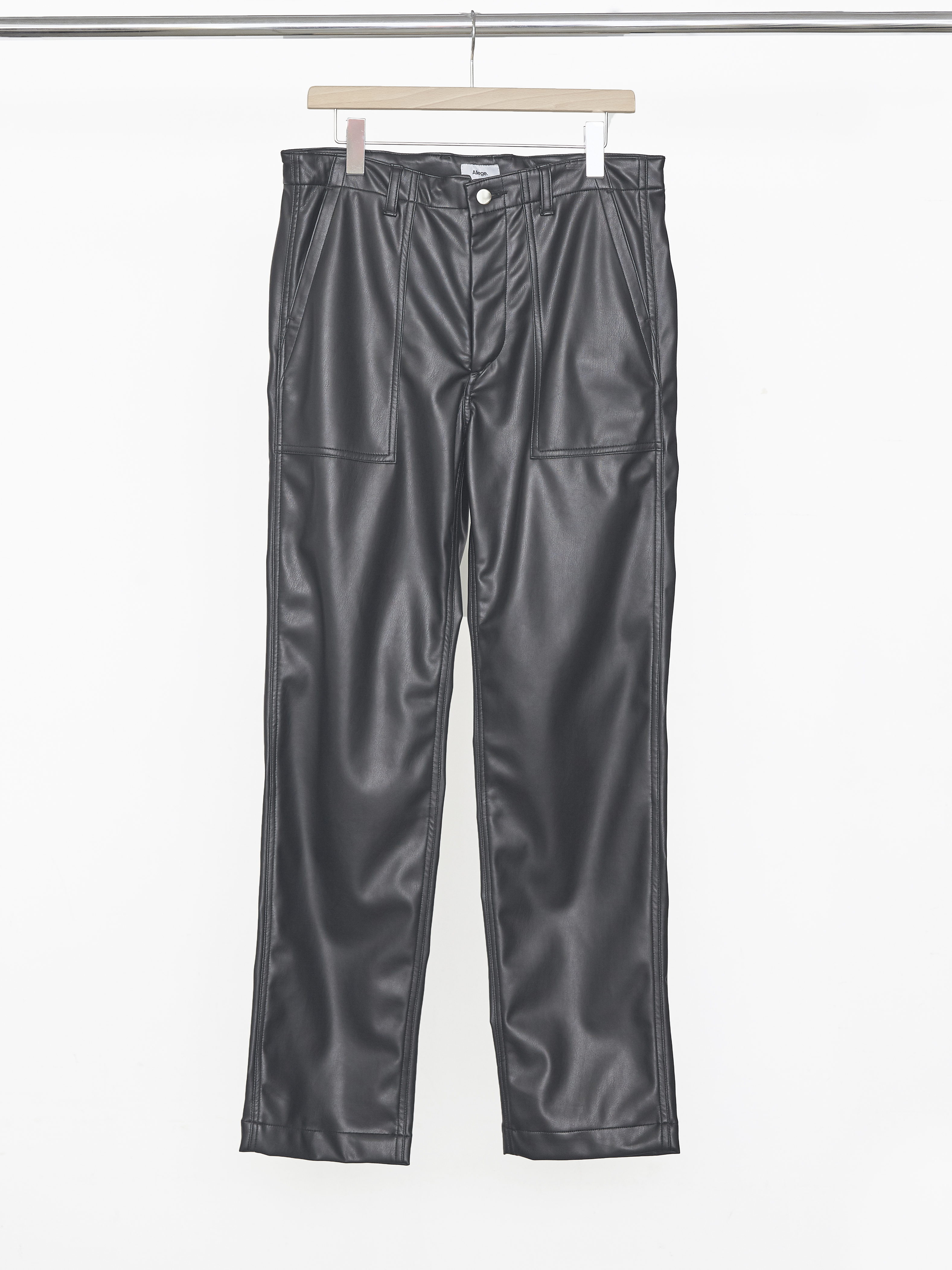 Synthetic Leather Baker Pants - Black