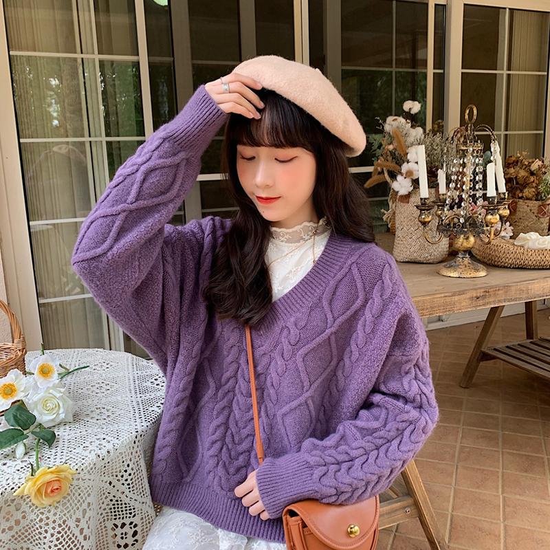 【送料無料】 コーデが華やぐ♡ Vネック プルオーバー オーバーサイズ ケーブル編み ツイスト カラー ニット