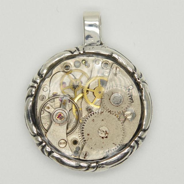 【シルバー925】ネックレス(時計基盤・燻し丸)チェーン別売り