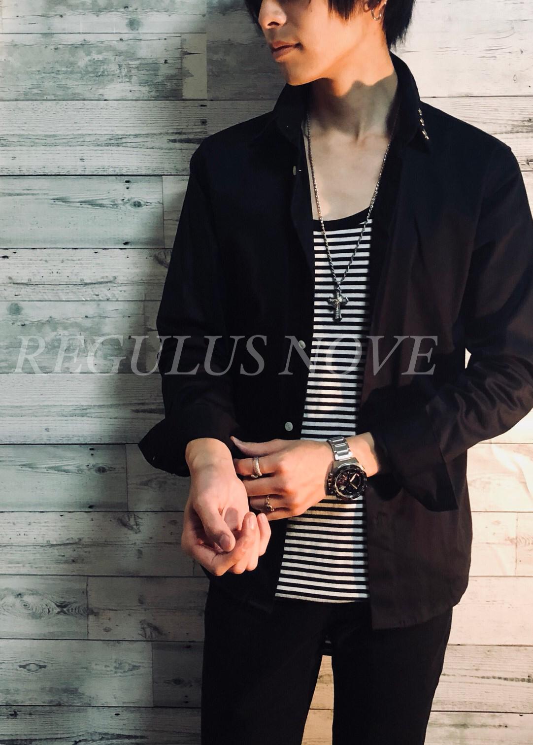 REGULUS NOVE ポイントスターストレッチブロードシャツ   BLACK メンズ 男物 紳士服 細身 フォーマル カジュアル 星 スタッズ トップス