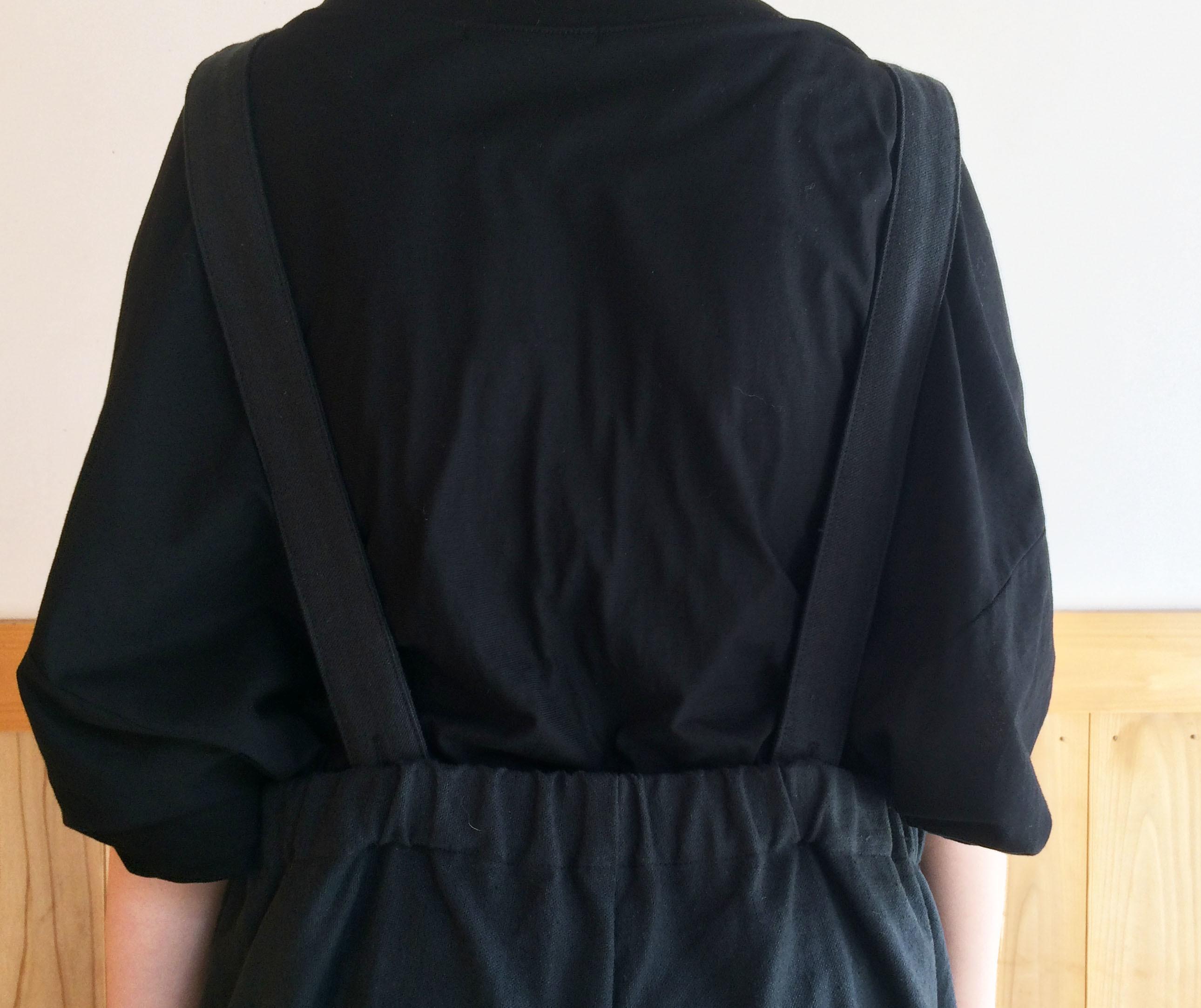 綿麻サロペット BK