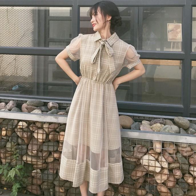 【dress】ファッションリボン付きPOLOネックデートワンピース21008775