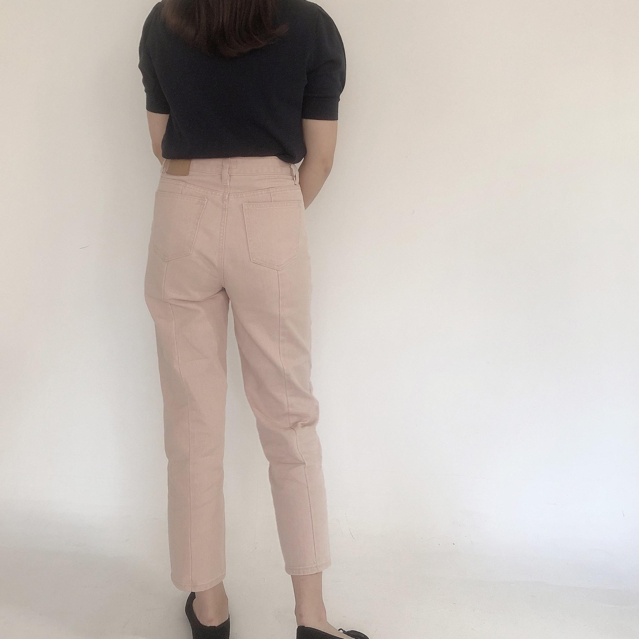 peach straight denim pants