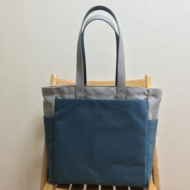 「ボックストート」 大サイズ「グレー×ミネラルブルー」帆布トートバッグ 倉敷帆布8号【受注制作】