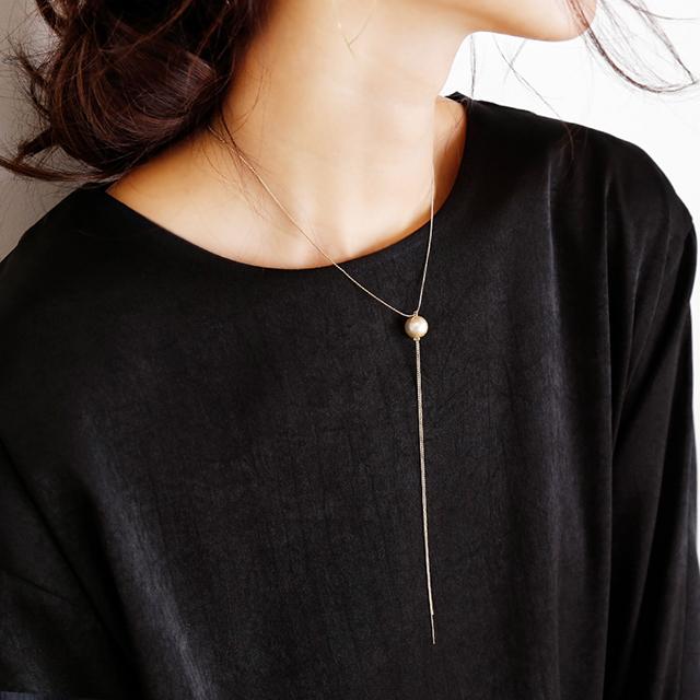 コットンパール × チェーン ネックレス