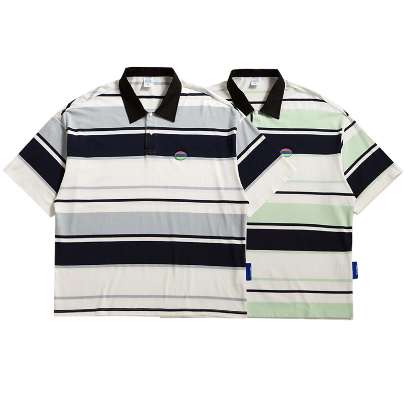 【UNISEX】ショートスリーブ ストリート ボーダー ポロシャツ【2colors】UN-A0182