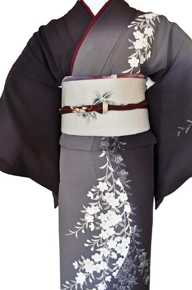 訪問着レンタル■紺色と灰色の片身違いに流れるような桜の花柄■正絹フリーサイズhu7〔往復送料無料〕 - 画像4