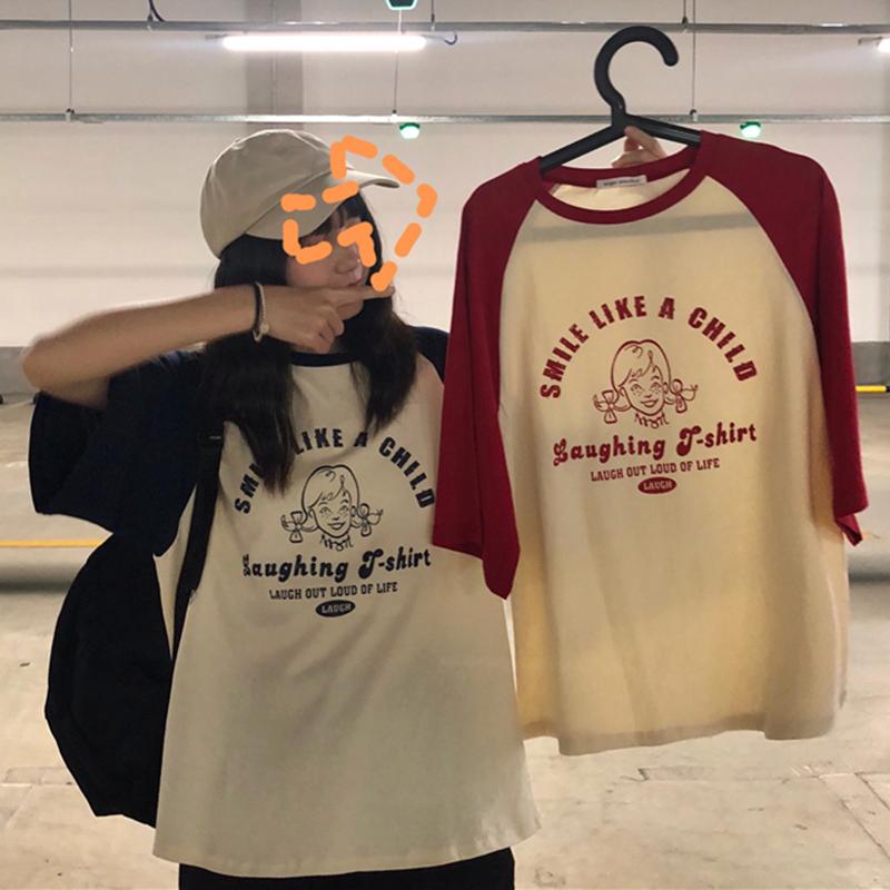【送料無料】アメリカンプリント♡ メンズライク オーバーサイズ Tシャツ