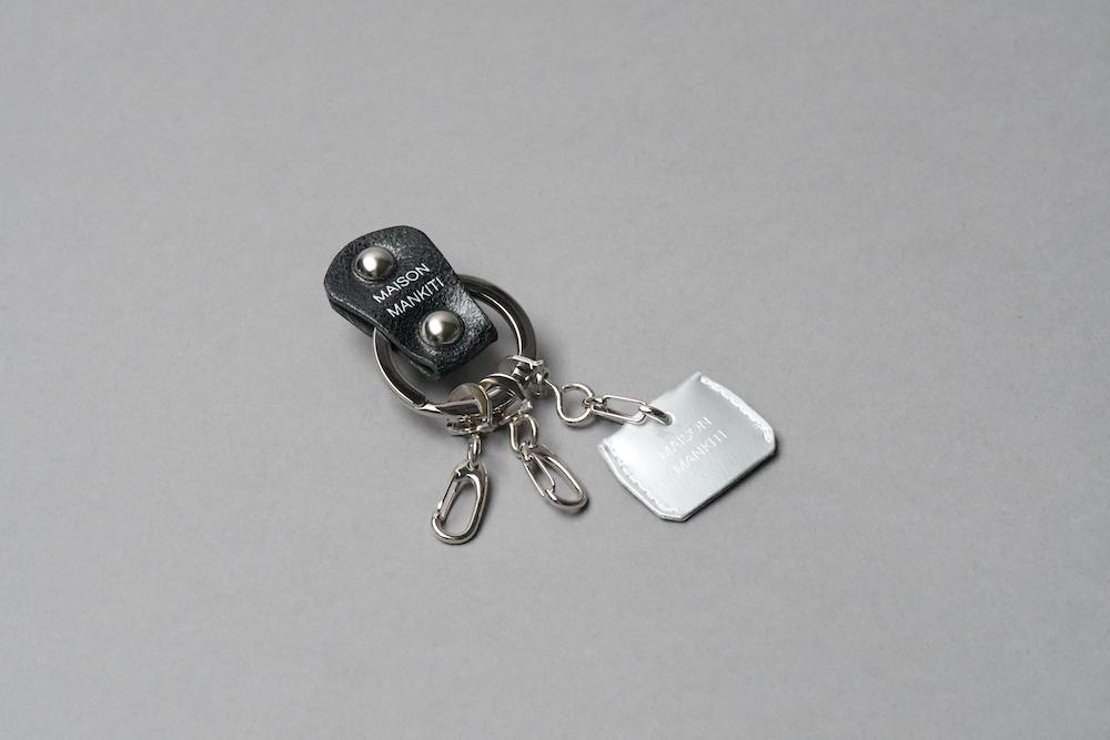 KEY RING・CAP ■ブラックS・マットシルバー■_本革真鍮キーリング・キーキャップセット_ - 画像1