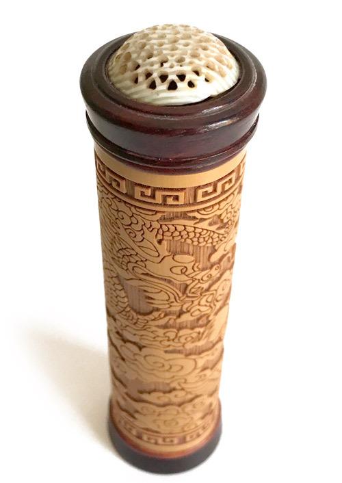 古竹に精巧な彫刻 虫管 小サイズ