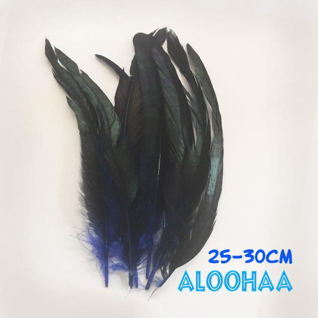 ロングフェザー 【青】25~30cm タヒチアン 衣装 材料 ルースターテール 染め 羽根