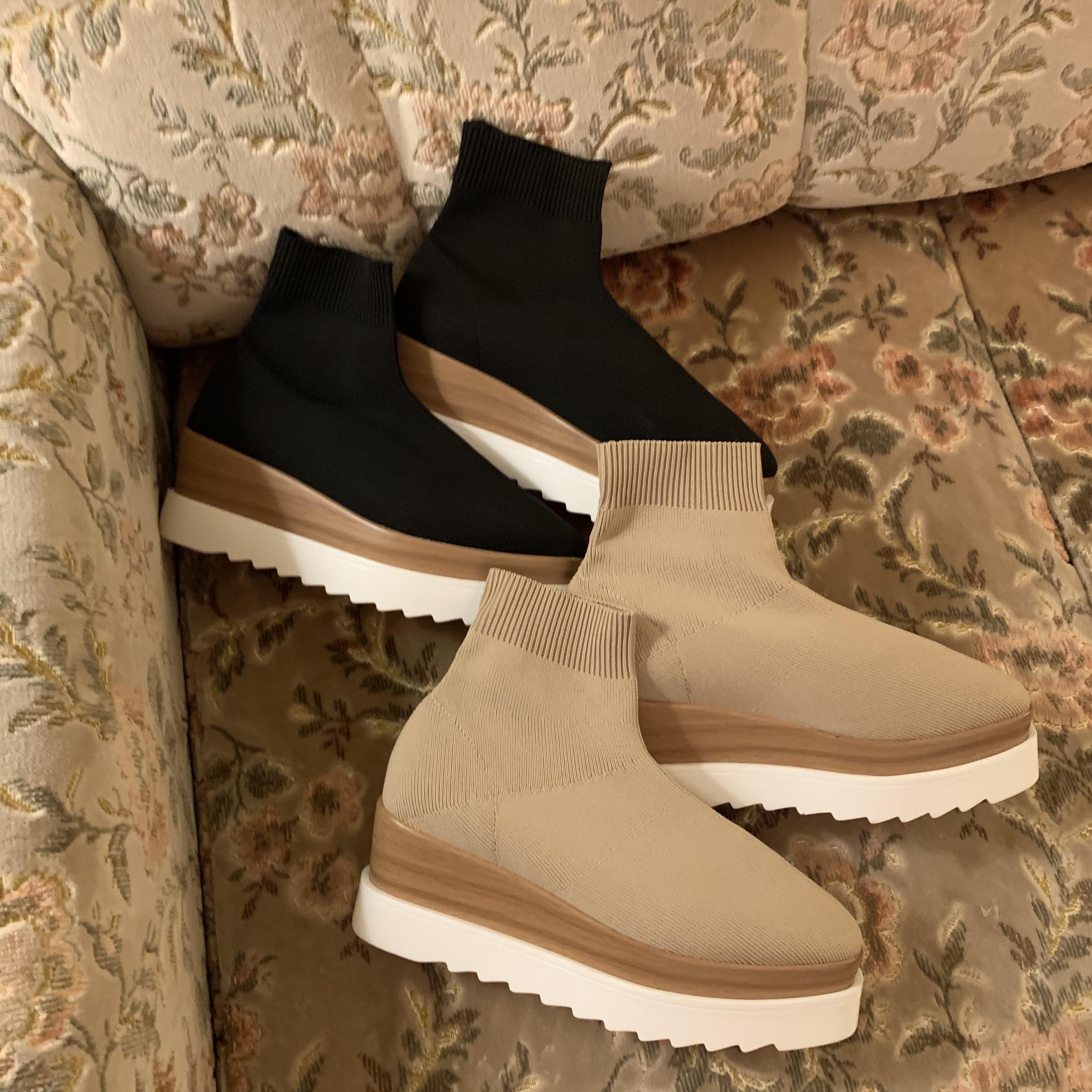 【LAST3】platform socks boots (beige)