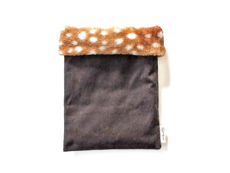 ハリネズミ用寝袋 M(冬用) コーデュロイ×ボアフリース バンビ