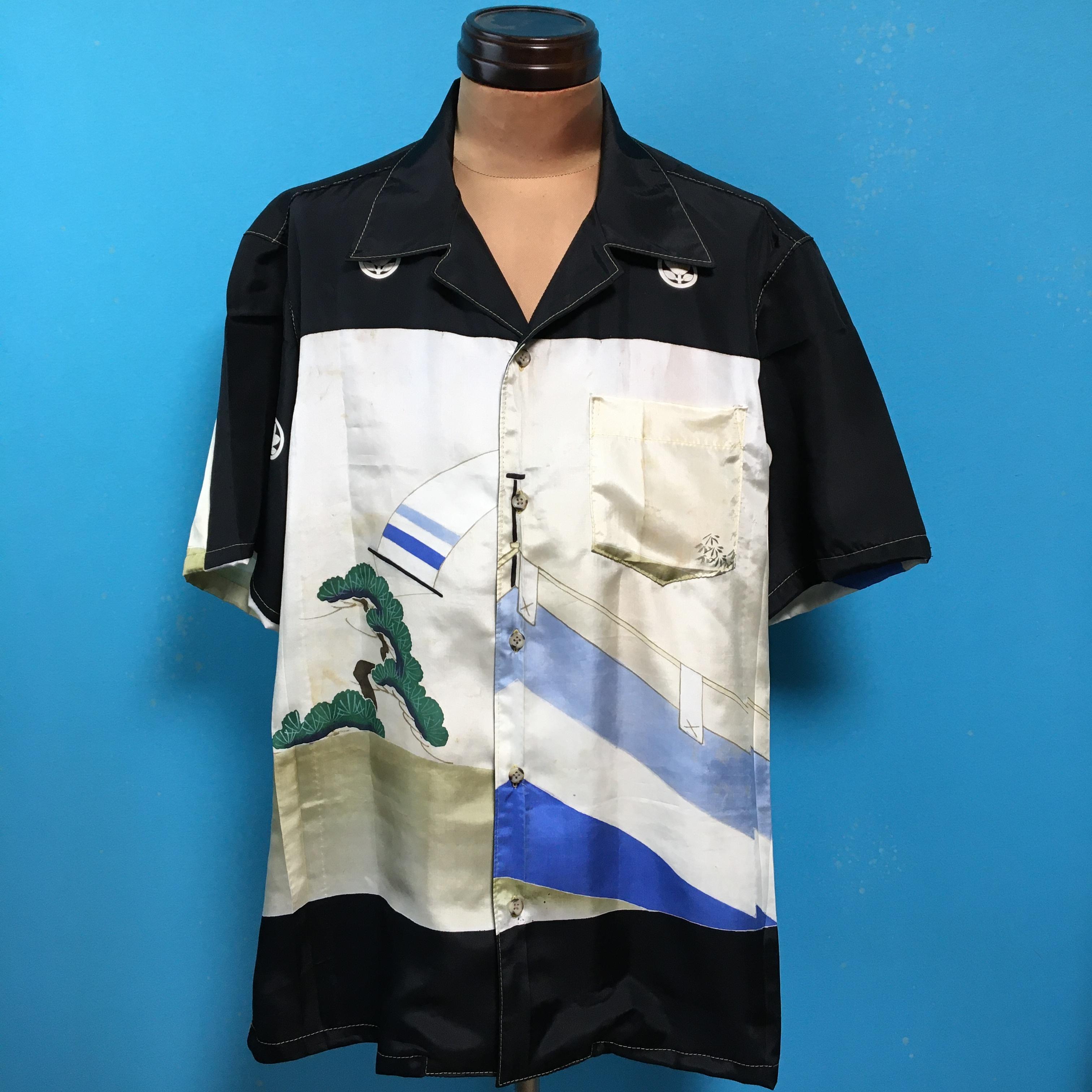 Vintage 着物のアロハシャツ US L
