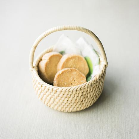 ちび手付き籠 手編み 籐素材・ロペア素材