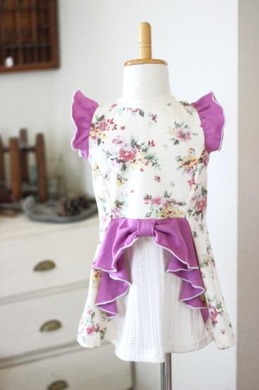【100】燕尾フレアT*リボン付きTシャツ 花柄ピンク