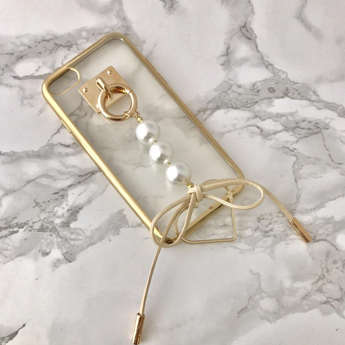 【送料無料】縁ゴールドのソフトケース パール&リボン iPhoneケース