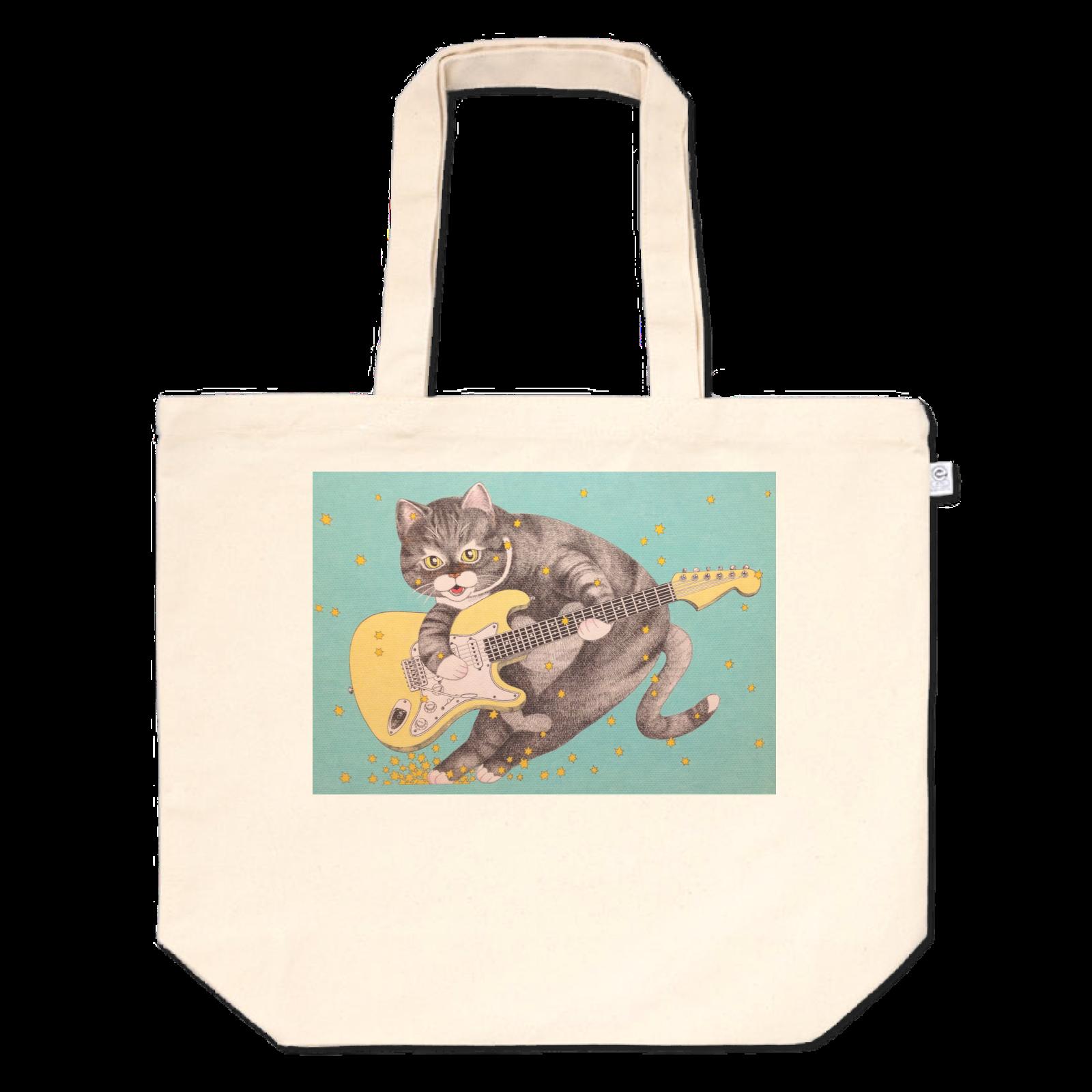 猫とギター  トートバッグ (L)
