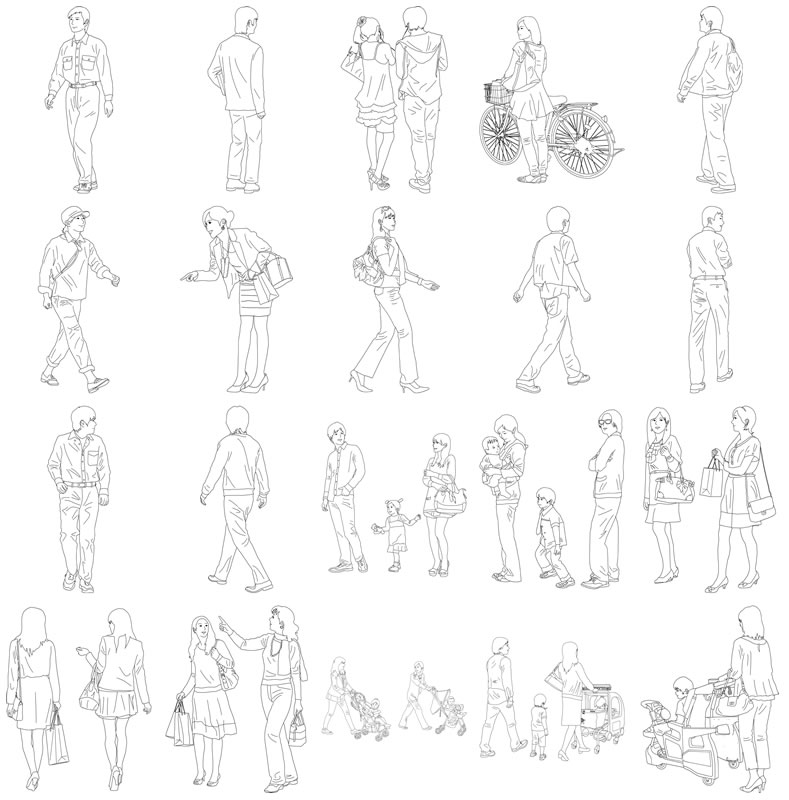 人物線画SketchUp素材 4up_line01_20_5 - 画像4