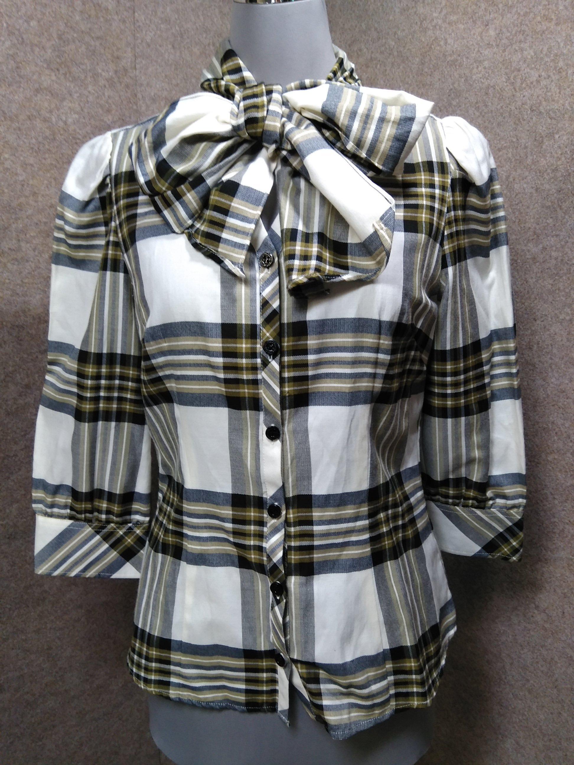 ナラカミーチェ ストールリボン付きシャツ 7分袖 Ⅰ チェック mu941c