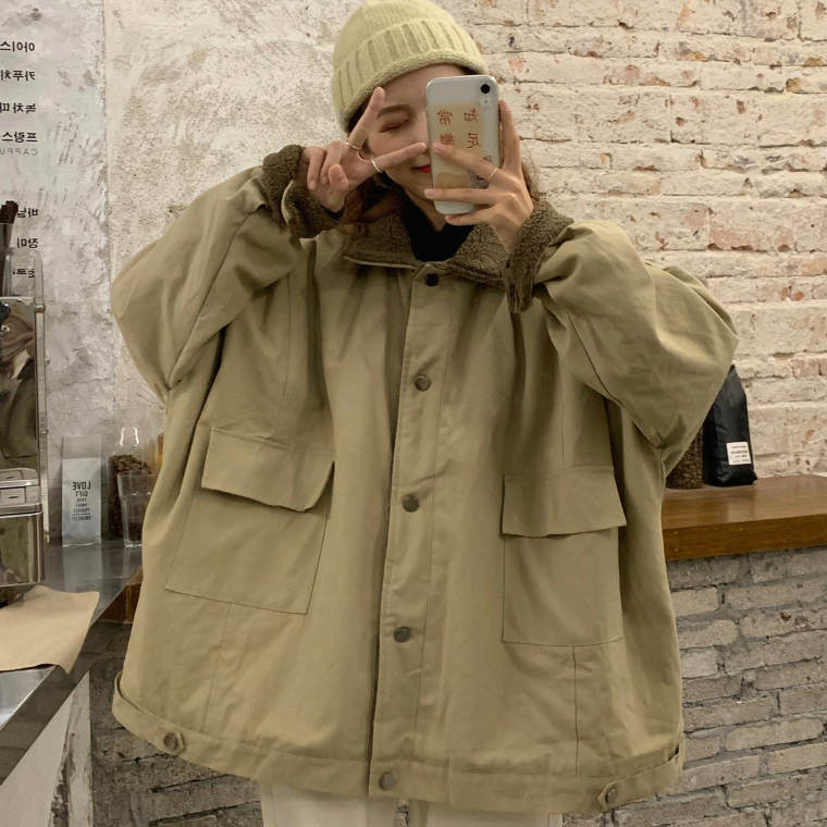 【送料無料 】オーバーサイズ ♡ カジュアル メンズライク ゆるダボ ボア 襟付き ブルゾン ジャケット アウター