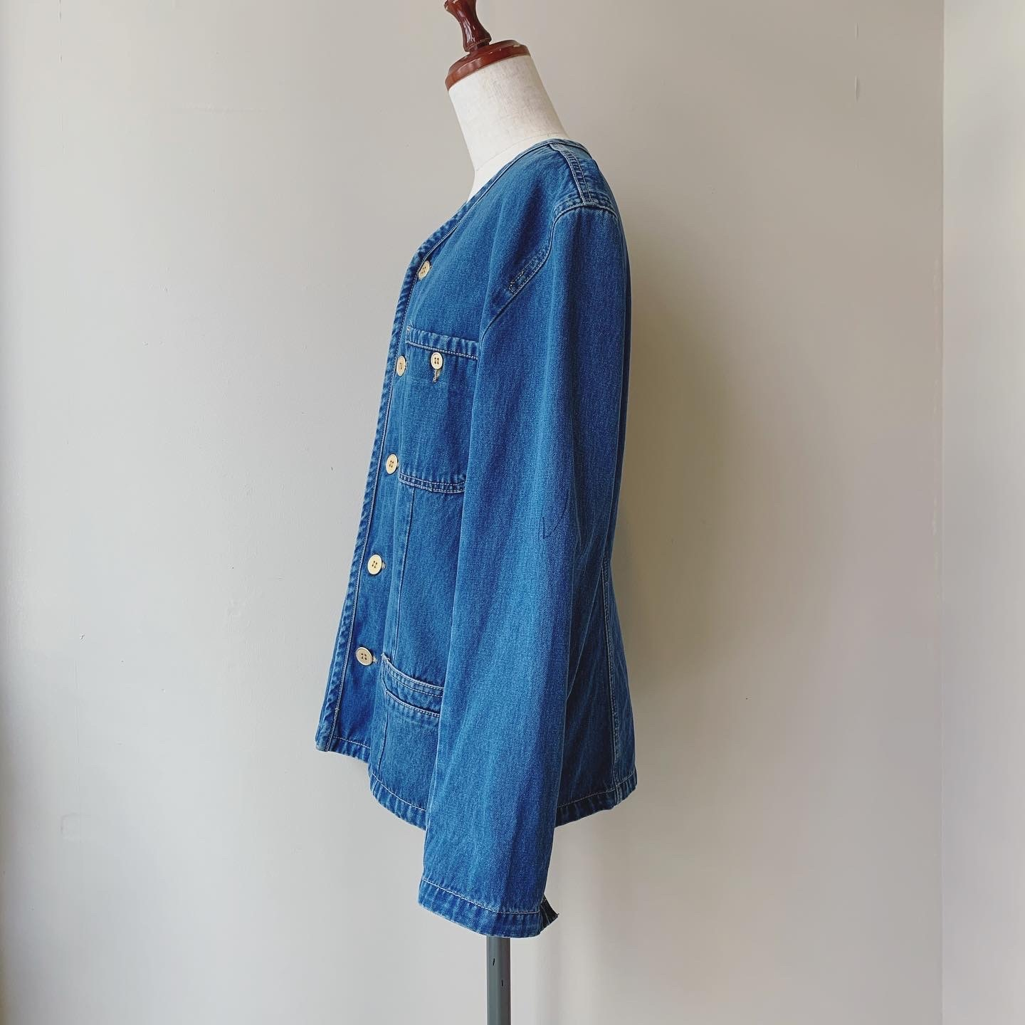 【SALE】 vintage Vneck denim jacket