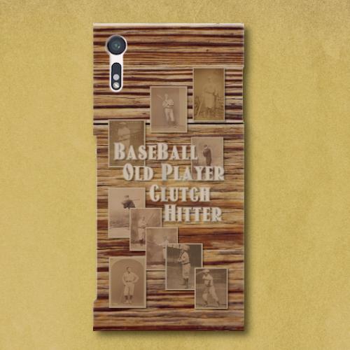ベースボール・オールドプレイヤー(木目)/ Androidスマホケース(ハードケース)