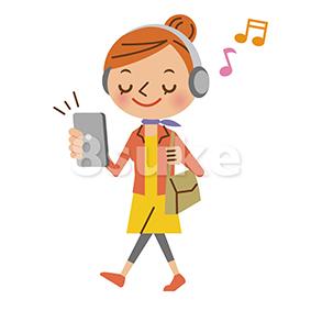 イラスト素材:スマートフォンで音楽を聴く私服姿の女性(ベクター・JPG)