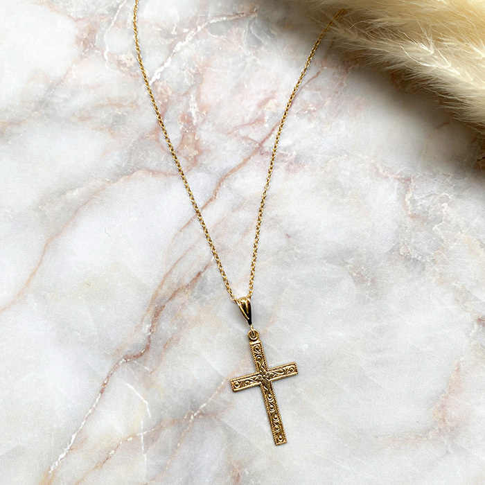 14kgf Cross Charm Necklace