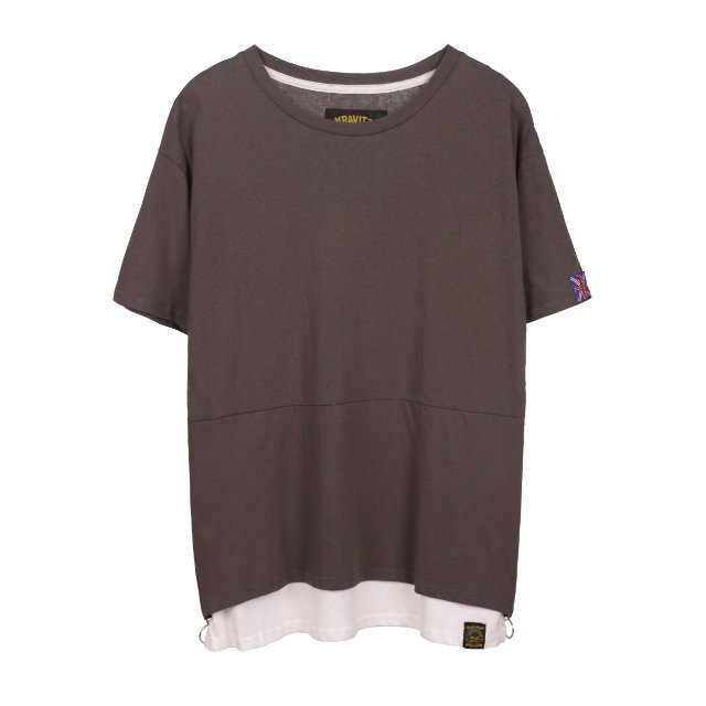 Side Zip Layer T | サイド ジッパー 重ね着風 Tシャツ (KRAVITZ クラヴィッツ)