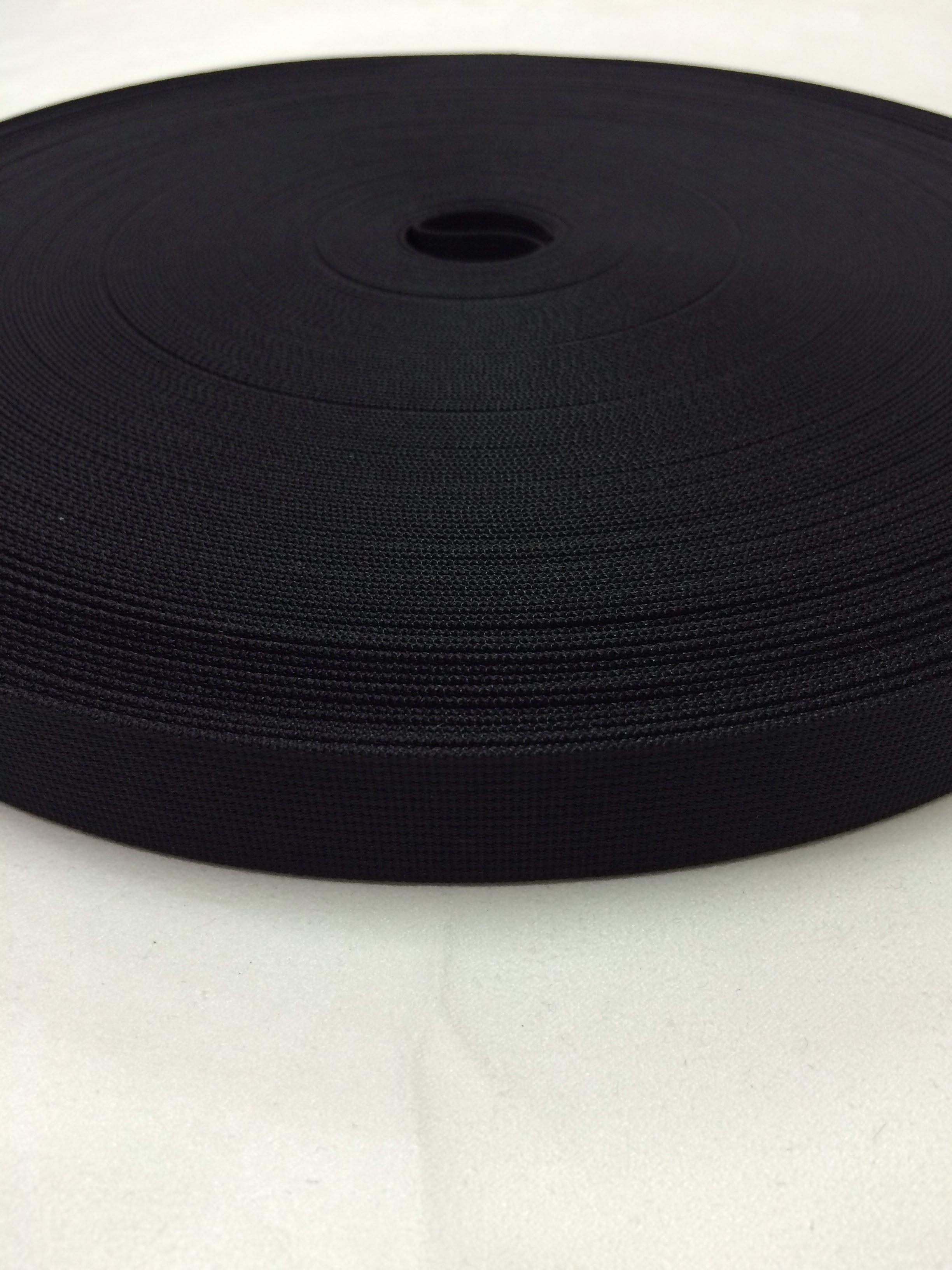 リュックのヒモ、ザックのヒモに最適な ナイロン ベルト 高密度 20mm幅 1mm厚 黒  1反50m