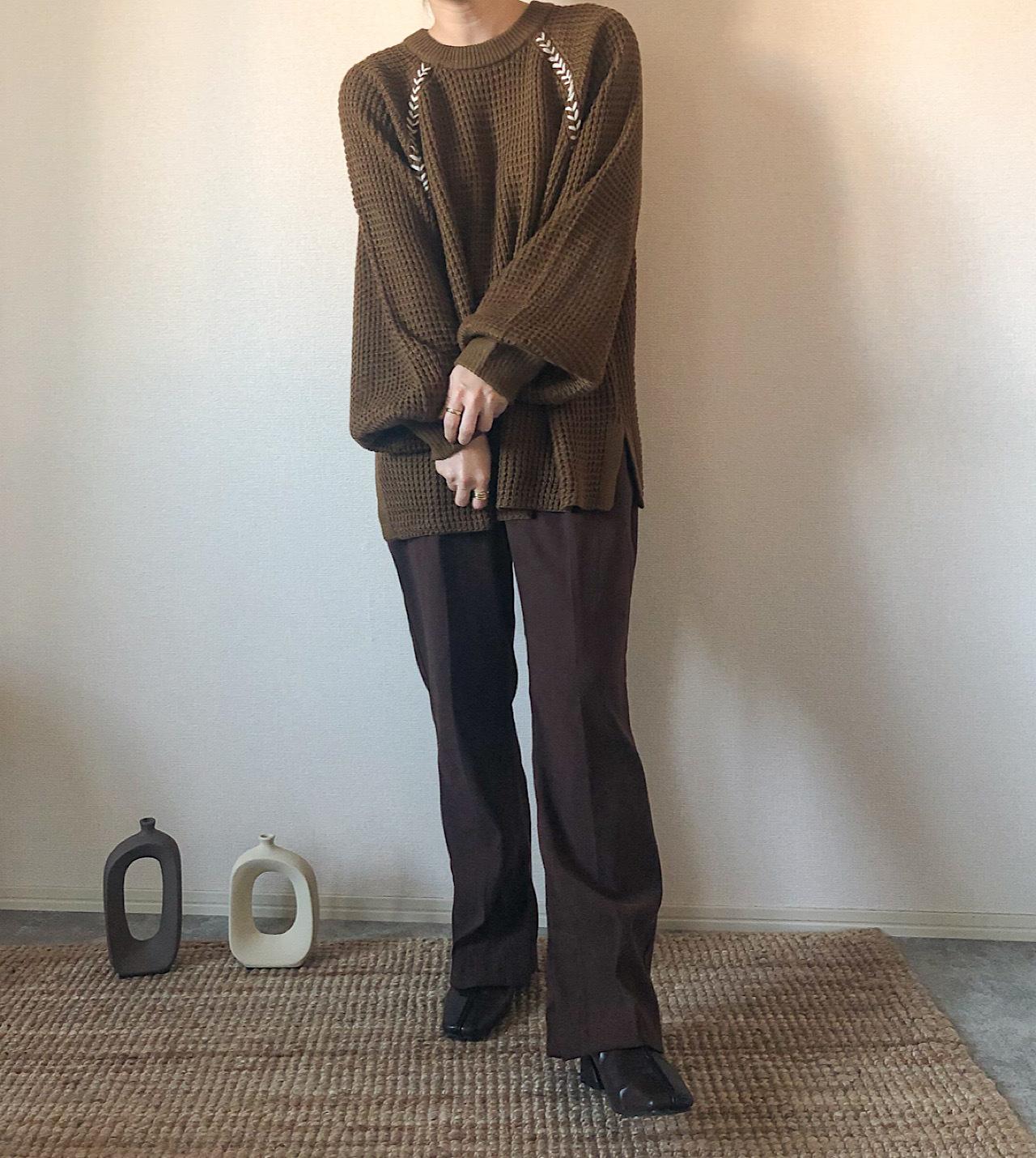 【brown】配色stitchニット