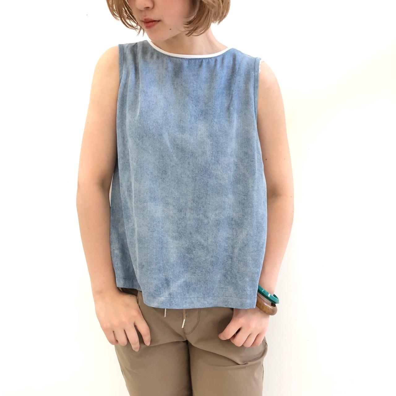【 Praia 】- LEI-1940 - プリーツノースリーブTeeシャツ